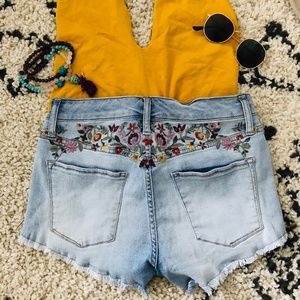 Boho Floral Embroidered Jean Shorts High Waist